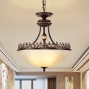 White Glass Bronze Chandelier Light Bowl 3 Bulbs Countryside Pendant Lighting Fixture