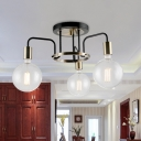 Clear Glass Spherical Semi Flush Light Countryside 3/5 Heads Living Room Close to Ceiling Lamp