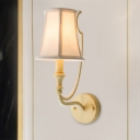 Fabric Bell Wall Light Traditional 1/2-Bulb Bedroom Wall Sconce with Crystal Ball in Beige/Aged Silver