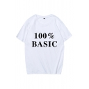 Letter 100% Basic Print Short Sleeve Crew Neck Loose Fit Chic Tee for Girls