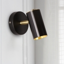 Tube Adjustable Mini Wall Light Simple Aluminum 1 Head Bedside Wall Mount Lighting Fixture in Gold/Black