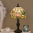 Stained Art Glass Dark Wood Nightstand Light Dome Shade 1 Light Baroque Lotus Patterned Night Table Lamp