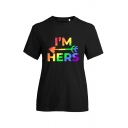 Fashionable Black Colorful Letter She's Mine Heart Graphic Short Sleeve Crew Neck Regular Fit Tee Top for Women