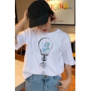 Fancy Girls White Bulb Patterned Short Sleeve Crew Neck Relaxed Fit T-shirt