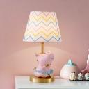 Resin Horse Nightstand Lamp Cartoon Single Bulb Pink Night Light with Cone Fabric Shade