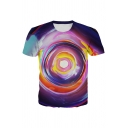 Unique Abstract Colorful Geo 3D Patterned Short Sleeve Crew Neck Relaxed Fit Tee for Guys