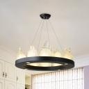 Black Circular Chandelier Modern Style Crystal Flake Living Room LED Ceiling Pendant Light