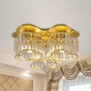 3/4-Head Love Shaped Flush Ceiling Light Modernist Gold Crystal Prism Flushmount Lamp