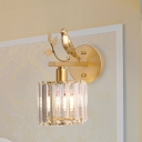Prismatic Crystal Cup Wall Lighting Modern 1-Light Bedroom Sconce Light with Twig and Bird Decoration in Black/Gold