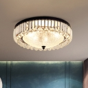Bowl Shade Bedroom Ceiling Light Modern Water Glass 5-Light Black Flush Mount Fixture with Circle Crystal Trim