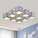Blue 9 Lights Semi Flush Romantic Pastoral Fabric Cubic Flush Mount with Blossom Pattern