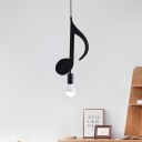 Eighth/Musical Note Exposed-Bulb Pendant Modern Iron 1 Bulb Black Down Lighting for Bedroom