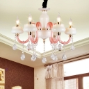 Clear Crystal Candlestick Chandelier Traditional 6 Bulbs Bedroom Pendant in White and Pink