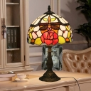 Domed Night Light 1 Bulb Cut Glass Mediterranean Table Lighting in Bronze with Dragonfly and Rose Pattern