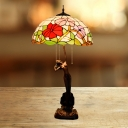 Blossom Cut Glass Nightstand Lighting Mediterranean 3-Head Red/Orange Naked Woman Night Table Light with Pull Chain