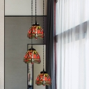 3-Light Multi Pendant Tiffany Dragonfly/Grapes/Rose Stained Glass Down Lighting over Dining Table, White/Red/Yellow