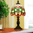 1 Bulb Scalloped-Trim Table Light Tiffany Green Stained Glass Nightstand Lamp with Jewels