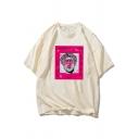Fashionable Boys Short Sleeve Crew Neck Cartoon Printed Oversize Tee Top
