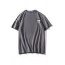 Cool Mens Fish Printed Short Sleeve Crew Neck Loose Fit T Shirt