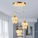 Drum Crystal Block Drop Lamp Modernist 3-Bulb Gold Finish Multi Pendant Light Fixture
