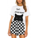 Trendy Womens Letter Don't Stress Meowt Cartoon Cat Graphic Short Sleeve Crew Neck Relaxed Tee & Allover Cat Printed Loose Shorts Set in Black