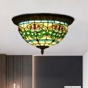 Bronze 2 Lights Flush Mounted Lamp Tiffany Stained Art Glass Bowl Shaped Ceiling Fixture