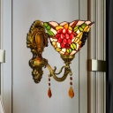 Grapes Pattern Flared Wall Lamp Tiffany Stained Glass 1 Light Brass Wall Sconce Lighting