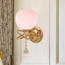 Crackle Glass Pink Wall Lighting Fixture Dome Shape Single Modern Wall Sconce Light