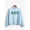 Popular Womens Patterned Long Sleeve Mock Neck Loose Pullover Sweatshirt