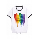 Letter Love Wins Colorful Stripe Graphic Short Sleeve Crew Neck Loose Popular Ringer Tee in White