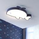 Dark Blue Whale Ceiling Lamp Cartoon LED Acrylic Flush Mount Recessed Lighting for Kids Bedroom