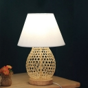 Bamboo Rattan Woven Oval Desk Lamp Asian Style Single Beige Night Light with White Fabric Shade