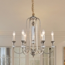 Aged Silver 6 Lights Ceiling Chandelier Farmhouse Iron Candlestick Hanging Lamp with Crystal Detail
