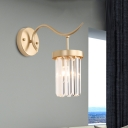 Ribbed Crystal Gold Wall Sconce Cylindrical Single-Bulb Living Room Wall Mounted Light