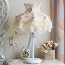 Beige 1 Head Nightstand Lamp Romantic Pastoral Fabric Lace Dress Table Light for Living Room