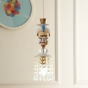 Aladdin Kid Bedroom Pendulum Light Resin 1/3-Light Cartoon Hanging Pendant in White with Cascading Crystal Drape
