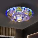 Yellow Circular Ceiling Lighting Minimalism Cut Crystal LED Corridor Flush Light with Fish Decor in Purple/Blue/Multi Color Light