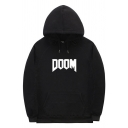 Casual Mens Letter Doom Print Long Sleeve Drawstring Pouch Pocket Loose Fit Hoodie