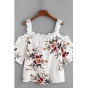 All over Flower Pattern Short Sleeves Cold Shoulder Lace Trimmed High Low Hem Loose Cropped Stylish Blouse for Girls
