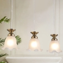 Countryside Flower Cluster Pendant 3 Heads Frosted Glass Suspension Lighting Fixture in Bronze/Copper