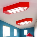 Creative Pencil Acrylic Flushmount LED Ceiling Flush Mount Light in Red/Yellow/Blue for Children Bedroom
