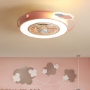 Nordic Drum Flush Lamp Iron LED Bedroom Semi Flush Mount Fan Light in Pink/Blue with Round/Cloud/Loving Heart Detail