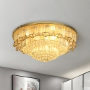 Opulent Inlaid Crystal LED Flush Mount Modernist Gold Blossom Living Room Ceiling Flush Light