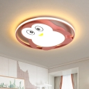 Penguin Ultrathin Ceiling Lighting Cartoon Acrylic Pink/Blue LED Flush Mount Fixture with Halo Ring