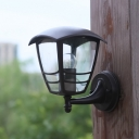 Retro Beveled Sconce Light Fixture 1 Head Clear Glass Wall Mounted Lamp in Dark Coffee