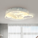 White Moon and Cloud Semi Flush Nordic LED Acrylic Close to Ceiling Lighting Fixture