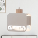 Creative Square Iron Pendant 1-Light Hanging Lamp in White with Wood Cap and Sculpture Design