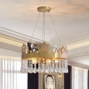Crown Bedroom Chandelier Light Modernism Clear Crystal 5 Heads Gold Suspension Lighting
