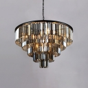 9 Bulbs Fountain Hanging Chandelier with Smoke Crystal Modern Chic Suspension Light for Living Room