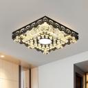Black Round/Square Flush Mount Minimalist K9 Crystal LED Foyer Flush Ceiling Light Fixture
